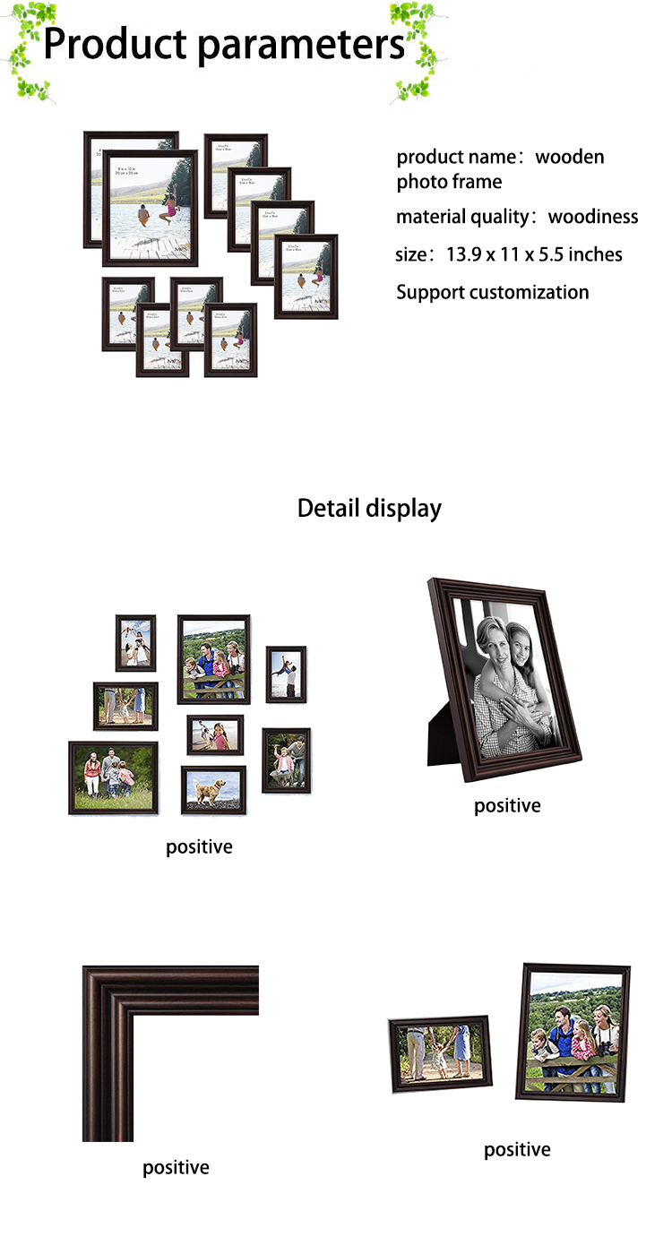 Multi-Pack Picture Frame Value Set DIY Wood Photo Frame with High Glass for Home Tabletop or Wall Decoration
