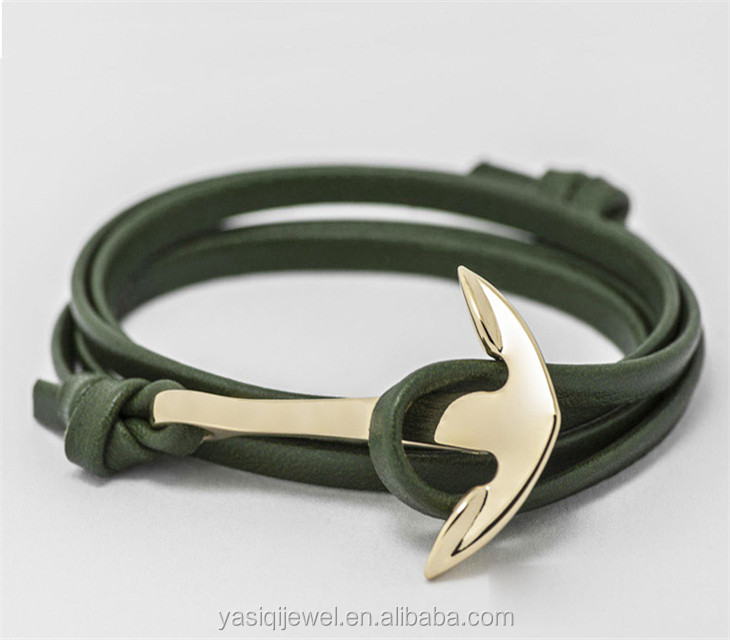 2021 wholesale fashion jewelry energy x power Alloy Anchor leather bracelet anchor bracelet