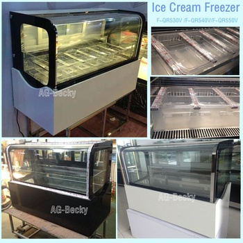 Table top square ice cream display freezer with mini size