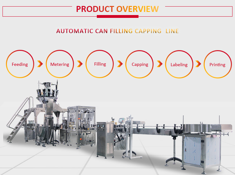 Full automatic multi-head weigher chips nuts peanut can filling packaging machine production line