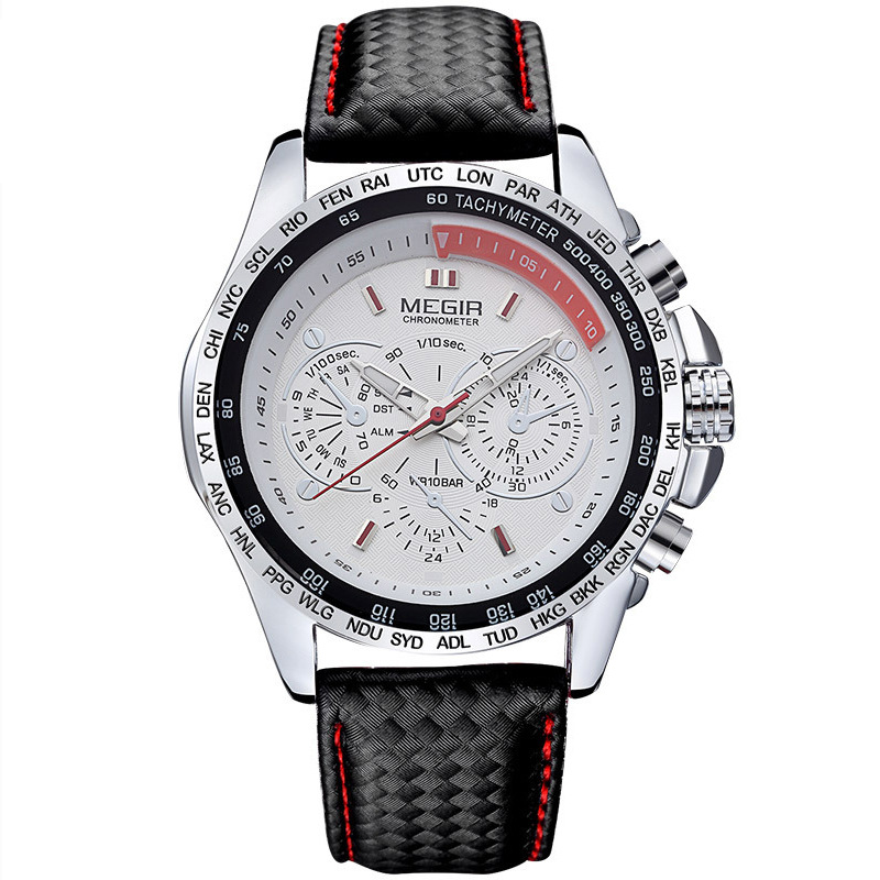 MEGIR <strong>1010</strong> luxury man guangzhou quartz watch original PU leather strap 3 dials Decoration water resistant in stock Casual watch