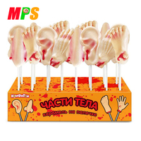 HALAL Certificated Custom Halloween Candy Sweets Body Parts Finger\Feet\Ear\Nose Skeleton Shape Hard Candy Lollipops Factory