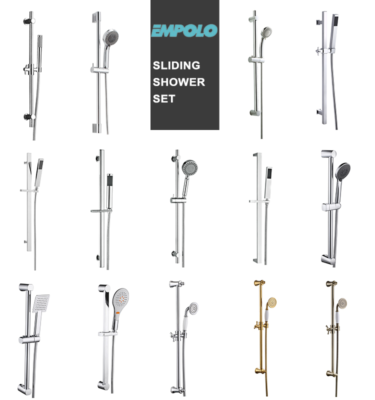 Wall Mounted Silver Adjustable Slide Bar Hand Shower Head Combo Set
