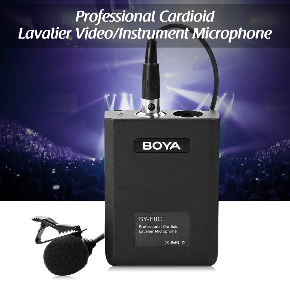 BOYA BY-F8C High Quality Microphone Cardioid Lavalier Condenser Microphone Video Instrument Sound Recording Mic XLR Connector