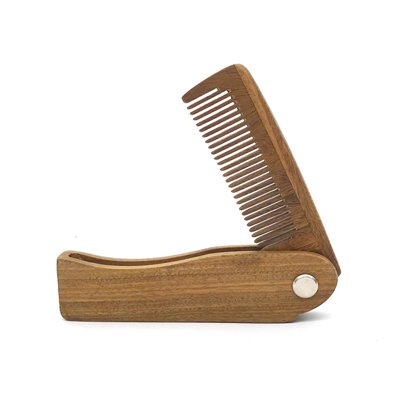 High Quality Exist Item Lasered Sandalwood Comb Mini Foldable Beard Comb For Man
