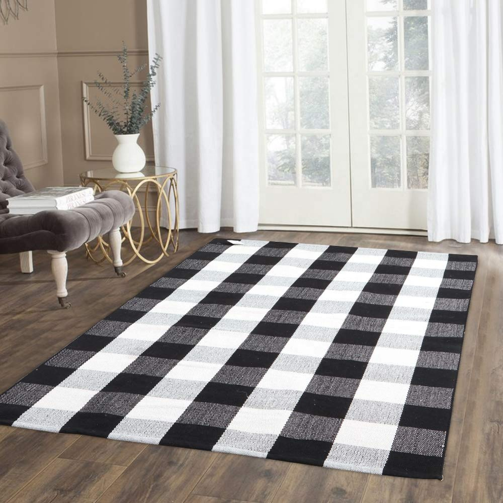Cotton woven buffalo plaid rug pattern home living room washable Buffalo check floor mat