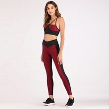 Wholesales yoga bodysuit solid color patchwork moisture absorption perspiration fitness <strong>Sport</strong> yoga suit <strong>sports</strong> running suit set
