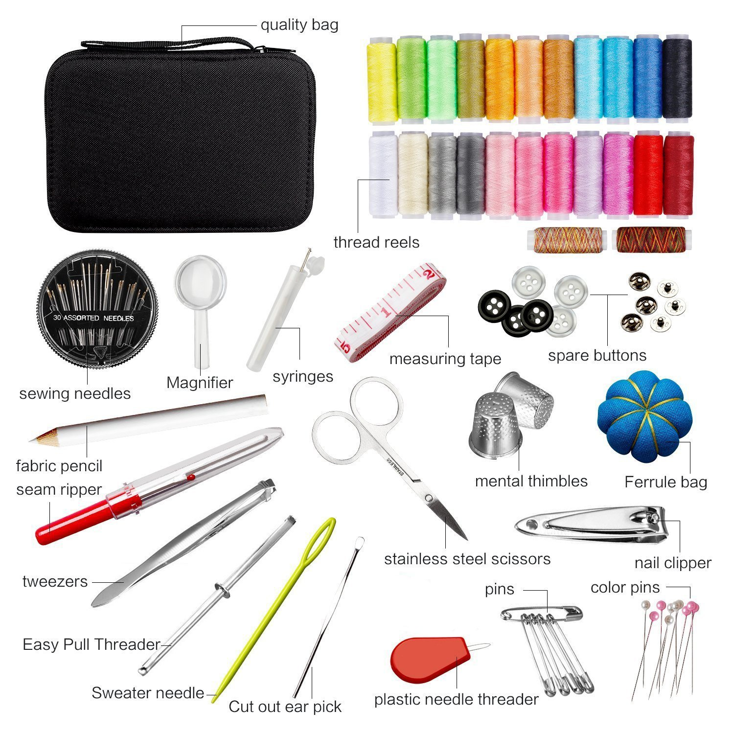 DIY Sewing KIT Beginners Home Portable Sewing Kit with Scissors, Thimble, Thread, Needles, Sewing Supplie set