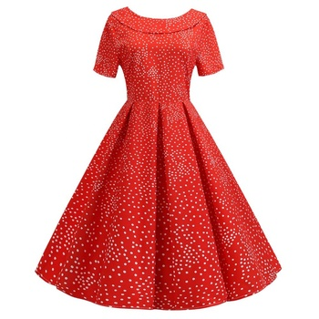 Wholesale SP-8108 Summer Female Pleated Short Dress Ladies Red Polka Dot Dress