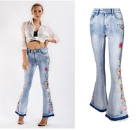 Z31767A Wholesale hot selling sexy fashion women high elasticity jeans denim flared pants