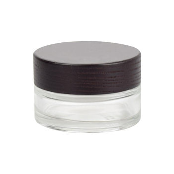 30g clear glass jar wooden lid high quality cosmetic packaging face cream jar with natural wooden cap