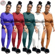 9082603 latest design solid color off shoulder long sleeve crop top casual women autumn clothing two piece set