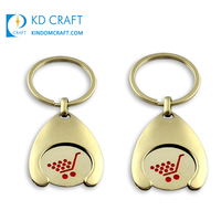 Wholesale custom blank metal enamel gold plated supermarket shop euro coin canadian shopping cart token key chain for promotion
