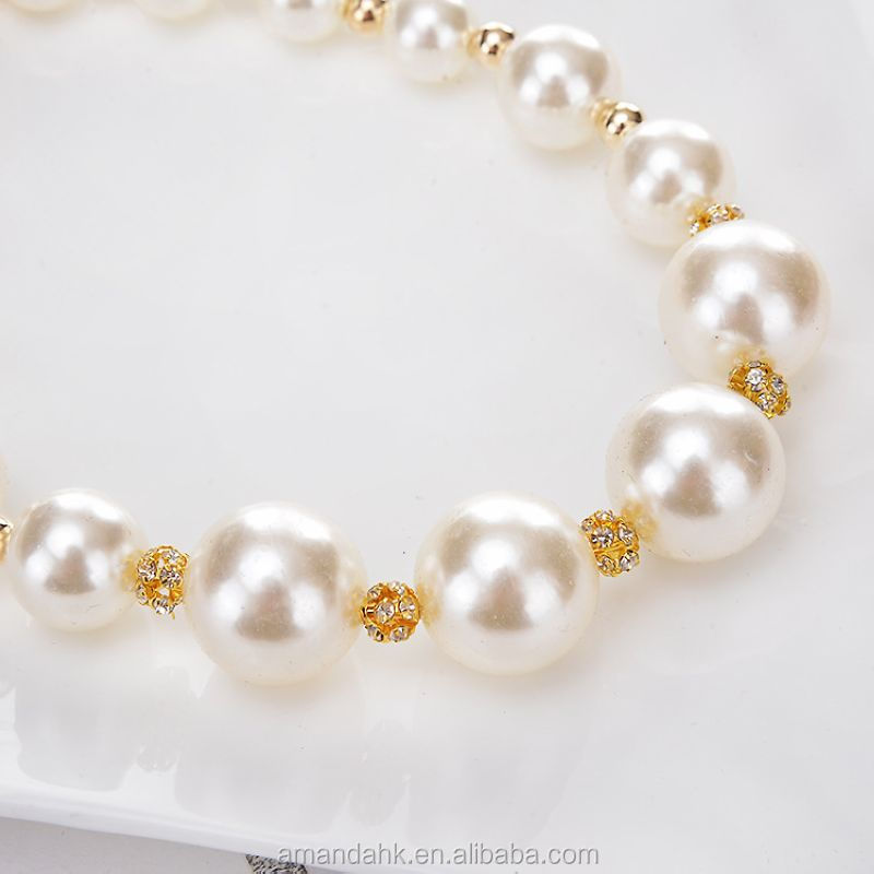 Big Pearl Ball Diamond Fashion Night Jewelry Wedding Choker Necklace Short Clavicle Chain For Women