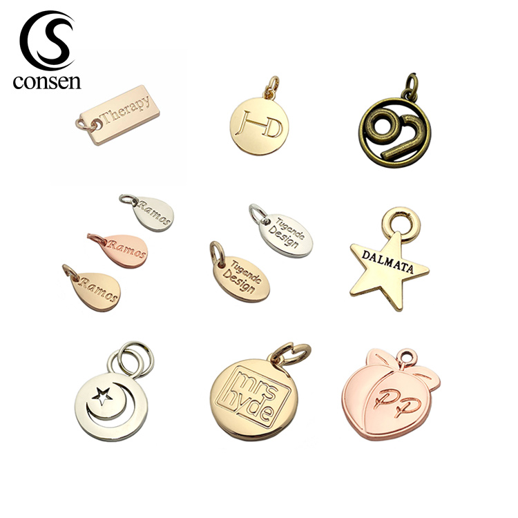 Custom made logo engraved cheap gold pendant metal jewelry tags <strong>charms</strong> for necklace / bracelet