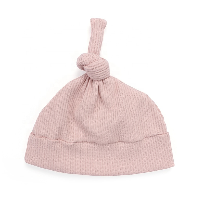 Newborn baby clothes solid color 100% cotton ribbed cotton baby beanie