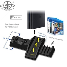 Multifunction Vertical Stand for PS4 Gamepad with Dual Charging Dock