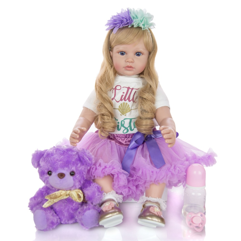 Limited Edition 24 inch Reborn Baby <strong>Doll</strong> 60 cm Silicone Soft Lifelike Newborn Purple Princess <strong>Dolls</strong> For Child Menina Brinquedos