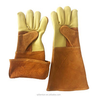Fireplace Gloves for Safety Work,Tig Welding Top Grain Cowhide Kevlar Lined Hand Gloves, Heat Resistant Mitt