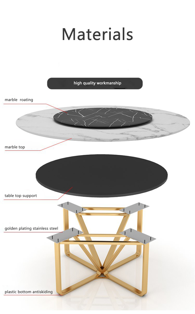 Round Gold White Marble Rotating Dining Table With Lazy Susan