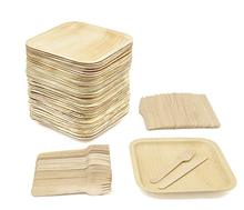 Eco-Friendly Dinnerware,Disposable Square Palm Leaf <strong>Plates</strong>, wood Forks &amp; Knives.