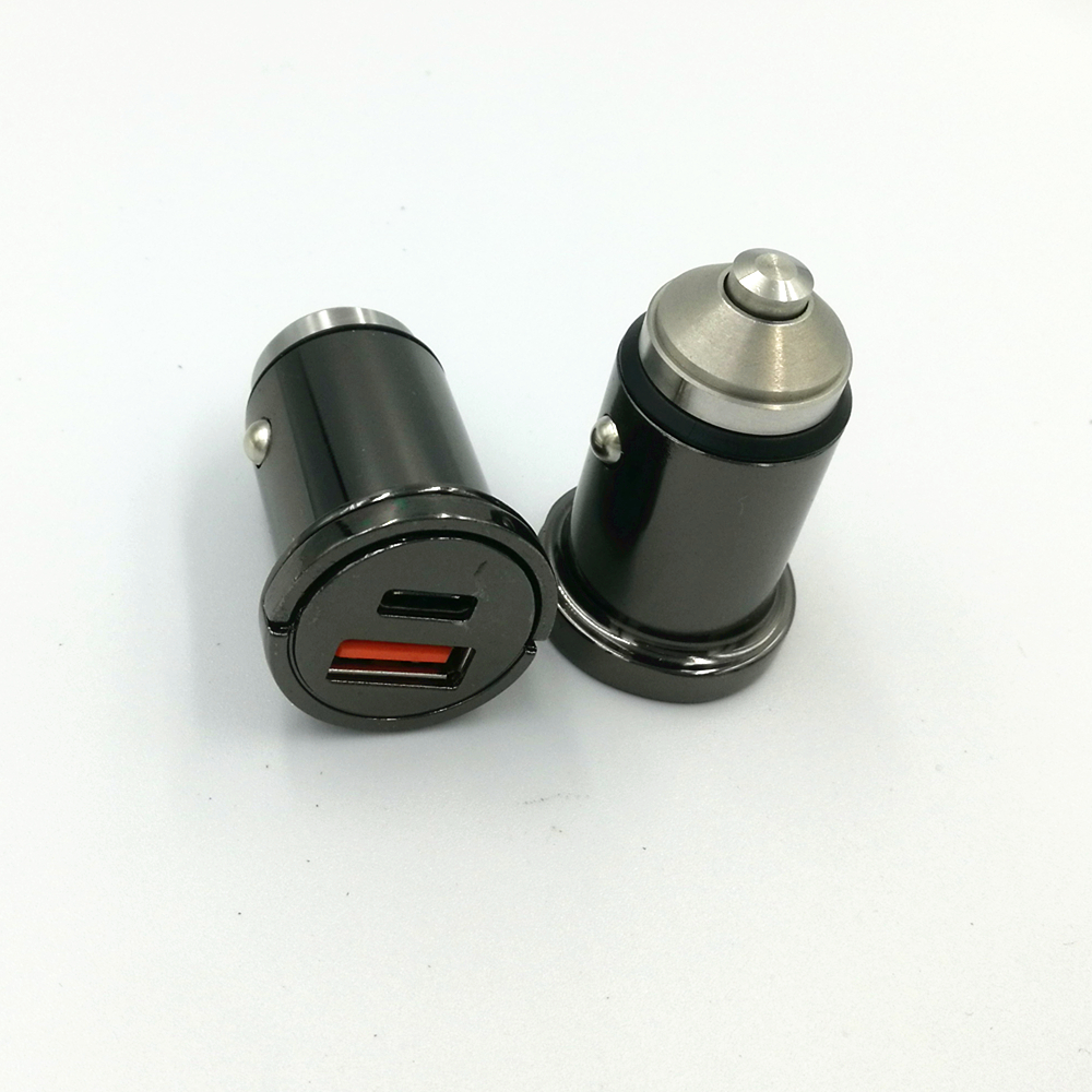 45W PD and QC 3.0 for phone charging with metal 2 usb car charger  fast car mobile phone charger