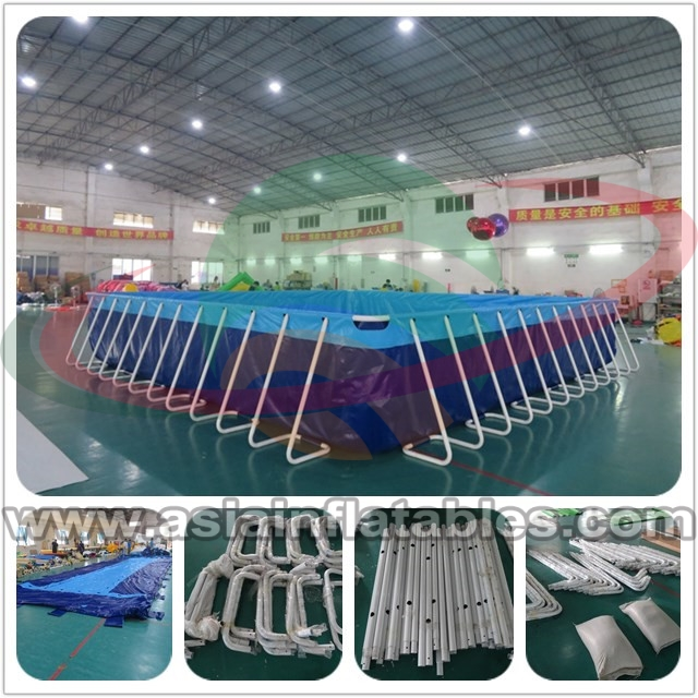 Portable 0.9m PVC Tarpaulin Inflatable Rectangular Metal Frame Swimming Pool