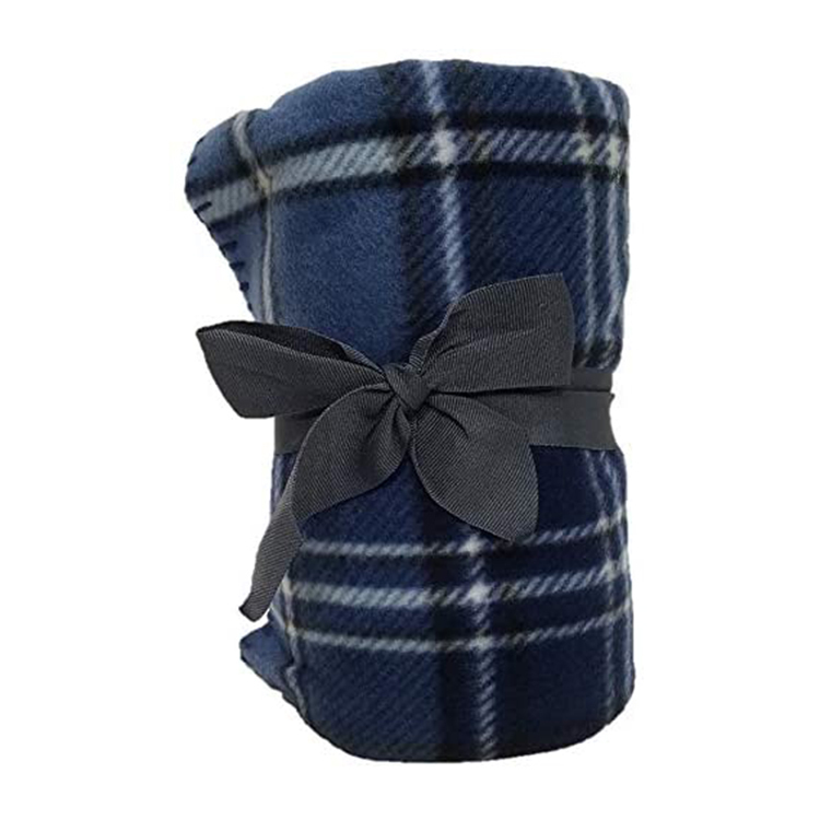 Decorative Navy Blue 50-inches by 60-inches Manta Neutral <strong>Plaid</strong> Throws Fleece Manta