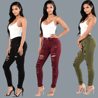 B10354A women ripped destroyed skinny denim jeans lady high waist denim jeans
