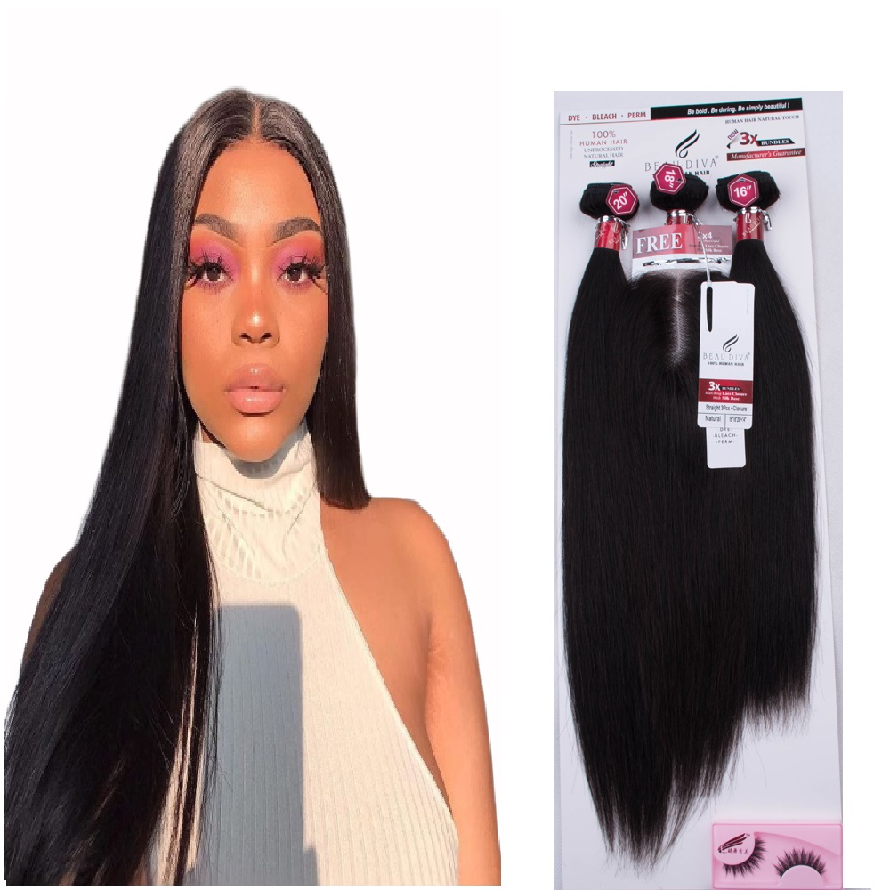 60g 60g 55g Bottom Price Wholesale Original custom hair packaging, 100% <strong>human</strong> one pack hair 3 Bundles With Lace Closure