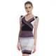 L393 Hot Sell Mature Lady Deep V Neck Bodice Tight Fashion Short Bandage Grey Latest Dress Designs For Ladies