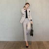 2020 INS Amazon Hot Sale Office Lady Suit Cotton Plaid Women Coat Pants 2pcs Set Spring Autumn Female Business Suit