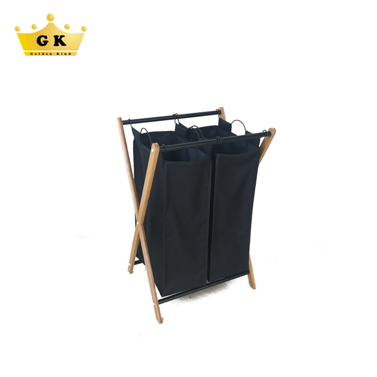 Double Sorter Foldable Metal And Bamboo Hamper Laundry Basket