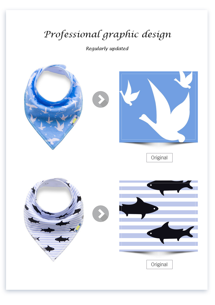 New fashional Hot sale baby bandana drool bib made in China