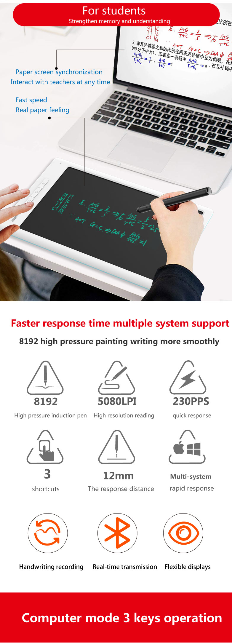 10 inch digital LCD drawing tablet writing tablet with bluetooth APP transfer memory
