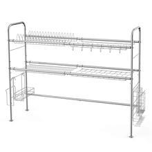2-Tier Stainless Steel Dish Drying Rack Over Sink Drainer <strong>Shelf</strong>, Utensils Holder Display Stand for Kitchen Counter