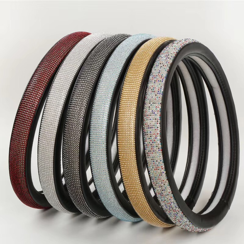 Fashion Diamond Leather Car Steering Wheel Cover