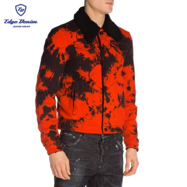 Hot New Style tie dyed color men's denim jeans jacket with fur men