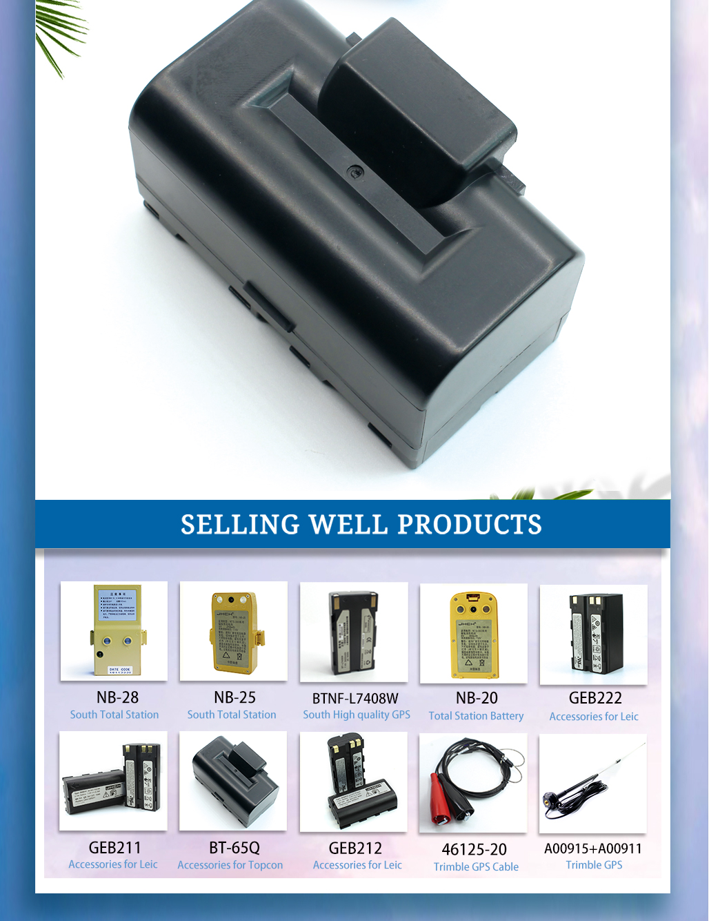 Topcon GTS-720 Battery BT-65Q Li-ion Battery For Topcon GTS-720,GTS-750 And GTS-900 Series Total Station