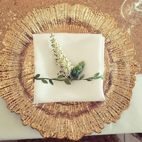 wedding table decorative13inch plastic gold reef charger plate