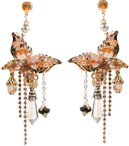 Hypoallergenic crystal beads butterfly dangle 20s costume statement earrings <strong>W115</strong>