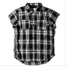 Euramerican Summer New High Street Low Hem Short Sleeve Black Plaid <strong>Men</strong> Check <strong>Shirt</strong>
