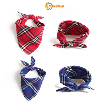 Plaid Dog Bandanas Pet Triangle Bibs Durable Scarfs Accessories for Small to Medium Dogs