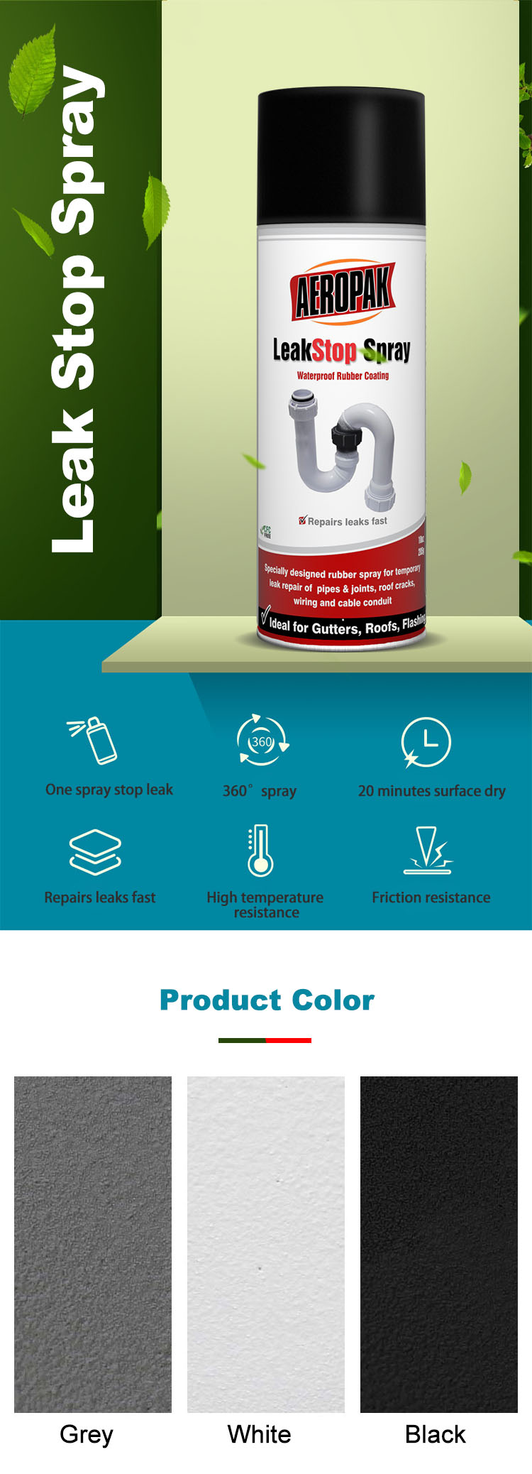 Aerosol Waterproof Roof Sealant Spray Paint Rubberized Coating for Stop Leak