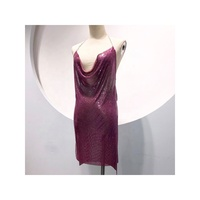 GC025 Women's Sexy Club rainbow purple chainmail dress Strap Crop Backless ladies party dress