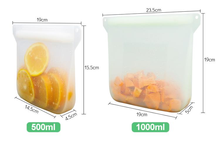 2020 Newly Designed Reusable Fresh Sealed Storage Silicone Food Bag