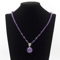 2020 women natural amethyst stone bead long necklace with silver crown and big ball pendant