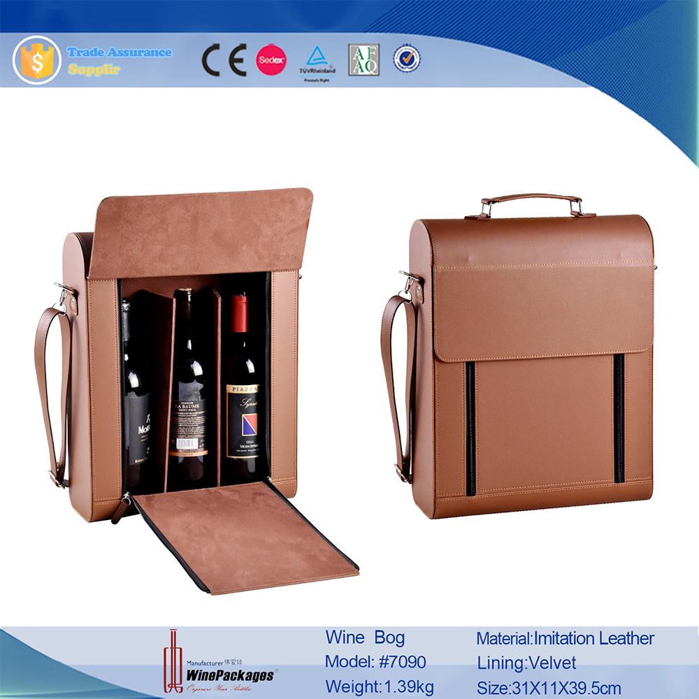 personalized 3 piece bottle carrier holder leather wine bag