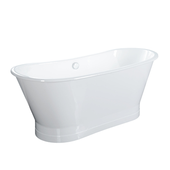 Cast Iron Bathtub with White Painted Steel Skirt