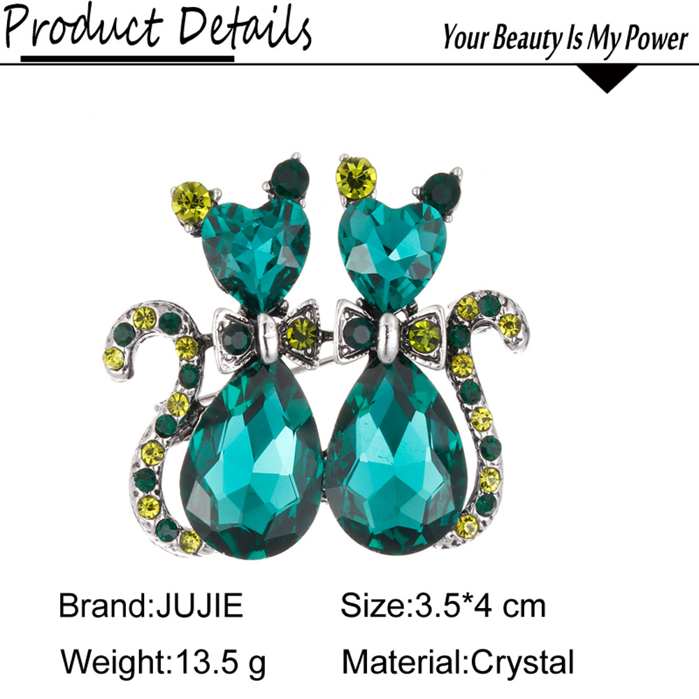 Hot Sale Vintage Dark Green Color Crystal Cat Shape Animal Brooches for Women